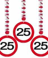 25 jaar versiering stopbord 6 stuks trend