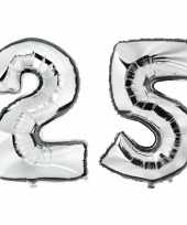 25 jaar zilveren folie ballonnen 88 cm leeftijd cijfer trend
