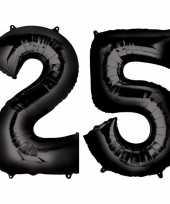 25 jaar zwarte folie ballonnen 88 cm leeftijd cijfer trend