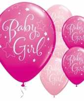 25x geboorte ballonnen meisje 28 cm trend