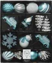 25x kerstballen en figuurtjes blauw wit zilver kunststof trend