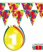 2x 1 jaar vlaggenlijn ballonnen trend