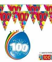 2x 100 jaar vlaggenlijn ballonnen trend