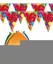 2x 16 jaar vlaggenlijn ballonnen trend