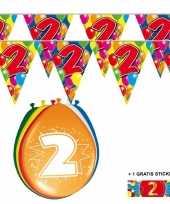 2x 2 jaar vlaggenlijn ballonnen trend