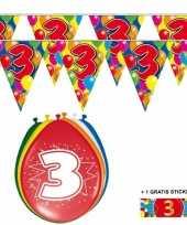 2x 3 jaar vlaggenlijn ballonnen trend