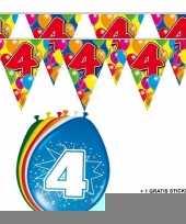 2x 4 jaar vlaggenlijn ballonnen trend
