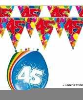 2x 45 jaar vlaggenlijn ballonnen trend