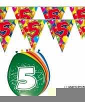 2x 5 jaar vlaggenlijn ballonnen trend