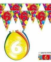 2x 6 jaar vlaggenlijn ballonnen trend