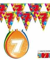 2x 7 jaar vlaggenlijn ballonnen trend