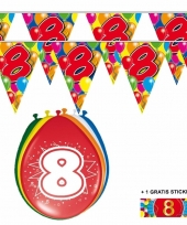 2x 8 jaar vlaggenlijn ballonnen trend