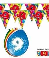 2x 9 jaar vlaggenlijn ballonnen trend