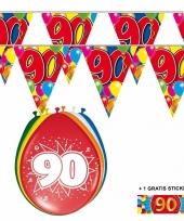 2x 90 jaar vlaggenlijn ballonnen trend