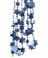 2x blauwe kerstversiering ster kralenslinger 270 cm trend
