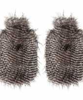 2x bruine bruin witte pluche kruiken met veren uiterlijk 2 liter trend