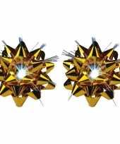 2x decoratie kadostrikken goud met lichtje trend