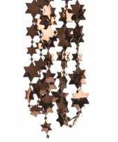 2x donker bruine kerstversiering ster kralenslinger 270 cm trend