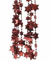 2x donker rode kerstversiering ster kralenslinger 270 cm trend