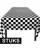 2x finish tafelkleden zwart wit geblokt 130 x 180 cm trend