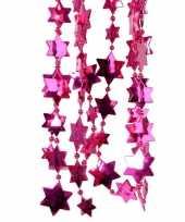 2x fuchsia roze kerstversiering ster kralenslinger 270 cm trend