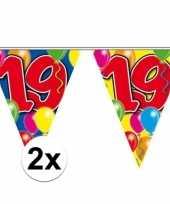 2x gekleurde vlaggenlijn 19 jaar 10 meter trend