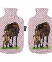 2x gestreepte roze kruiken met paarden opdruk 2 liter trend