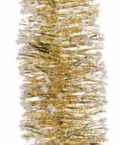 2x gouden kerstversiering folie slinger met sneeuw 200 cm trend
