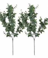 2x grijs groene eucalyptus kunsttakken kunstplant 65 cm trend