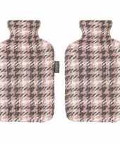 2x grijze roze witte kruik met pied de poule patroon 2 liter trend
