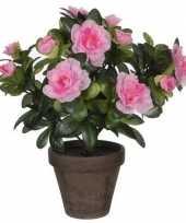 2x groene azalea kunstplant roze bloemen 27 cm in pot stan grey trend