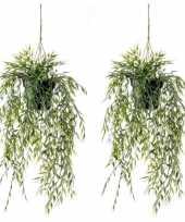 2x groene bamboe kunstplanten 50 cm in hangende pot trend