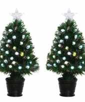 2x groene glasvezel kunstkerstbomen 60 cm trend