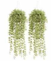 2x groene hedera klimop kunstplanten 50 cm in hangende pot trend