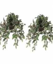 2x groene tradescantia vaderplant kunstplant 45 cm pot trend