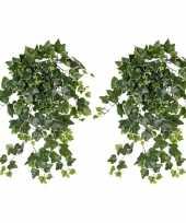 2x groene witte hedera helix klimop kunstplant 65 cm voor buiten trend
