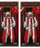 2x horror clown deurposters 75 x 150 cm halloween decoratie trend
