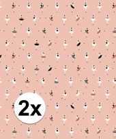 2x inpakpapier cadeaupapier ballerina 200 x 70 cm roze trend