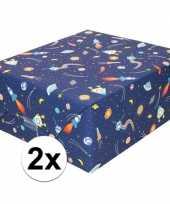 2x inpakpapier cadeaupapier donkerblauw raketten 200 x 70 cm rol trend