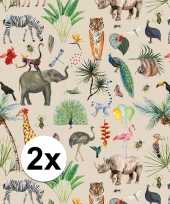 2x inpakpapier cadeaupapier jungle 200 x 70 cm trend