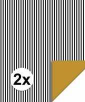 2x inpakpapier cadeaupapier streepjes 200 x 70 cm zwart wit trend