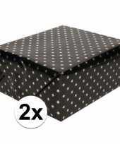 2x inpakpapier cadeaupapier zwart sterren 150 x 70 cm rollen trend