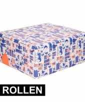 2x inpakpapier van sinterklaas blauw wit oranje trend