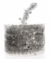 2x kerstboom sterren folie slinger zilver 700 cm trend