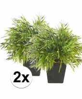 2x kunstplant bamboe mix groen in pot 25 cm trend
