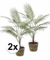 2x kunstplant palm groen in ronde terracotta pot 70 cm trend