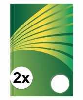 2x luxe schrift a4 formaat groene harde kaft trend