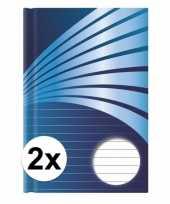 2x luxe schrift a5 formaat blauwe harde kaft trend