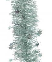 2x mint groene kerstversiering folie slinger met ster 270 cm trend