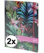 2x notitieboekjes schriften tropische print met elastiek a4 trend